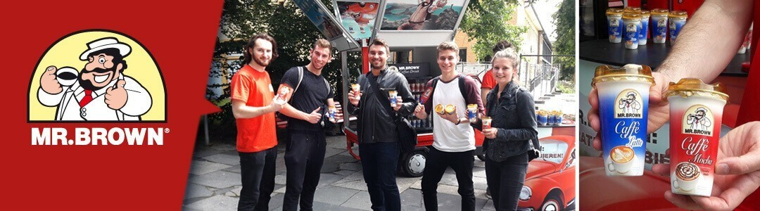 MR.BROWN Coffee Drink in Berlin Probieren. Caffe Latte, Caffe Mocha, Eiskaffee Vanilla und Classic